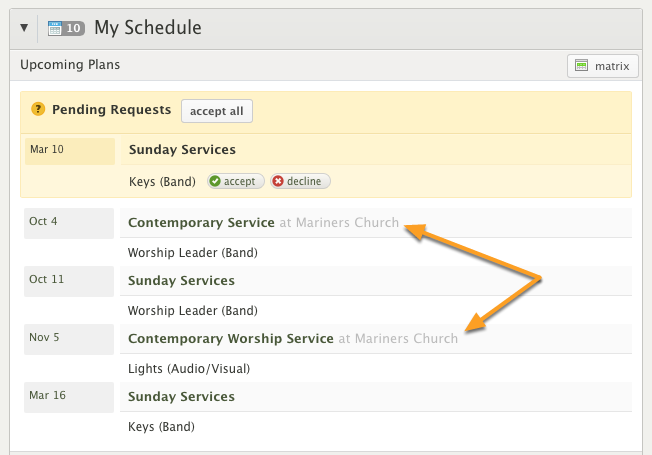 """Reason #2: Combined """"My Schedule"""" view includes all churches"""
