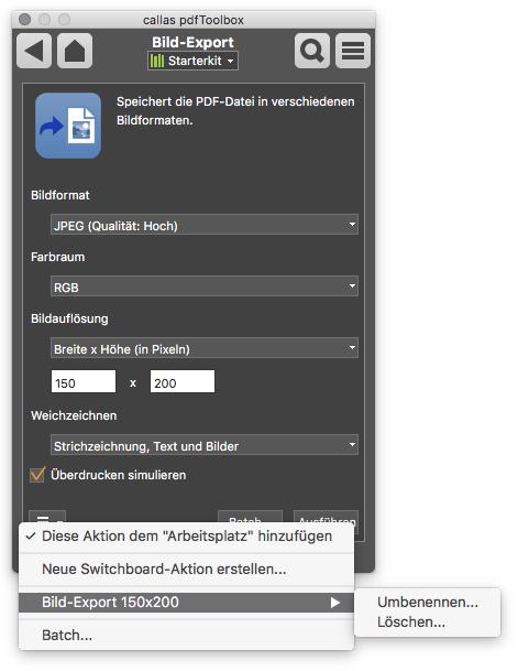 Switchboard-Aktion Liste