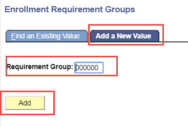 Enrollment Requirement Groups Add a New Value
