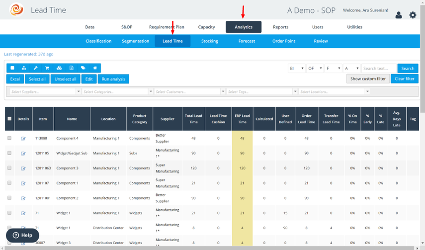 Open the Lead Time Interface Under the Analytics Menu Group