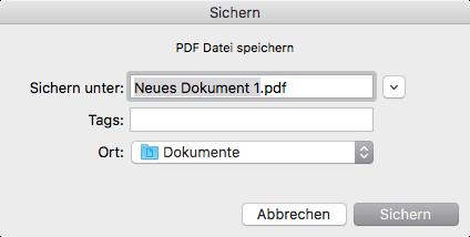 Neues Dokument sichern