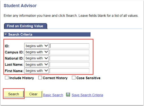 Student Advisor Search Criteria Fields