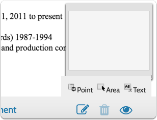 """After clicking the """"note"""" icon, select the type of annotation you want to create"""