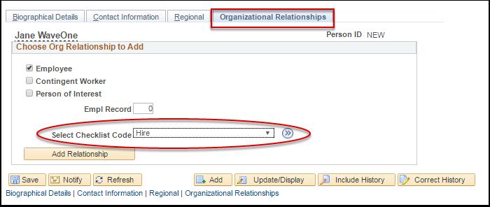 Organizational Relationships tab