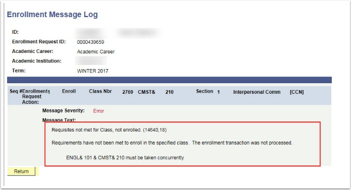 Enrollment Message Log Page