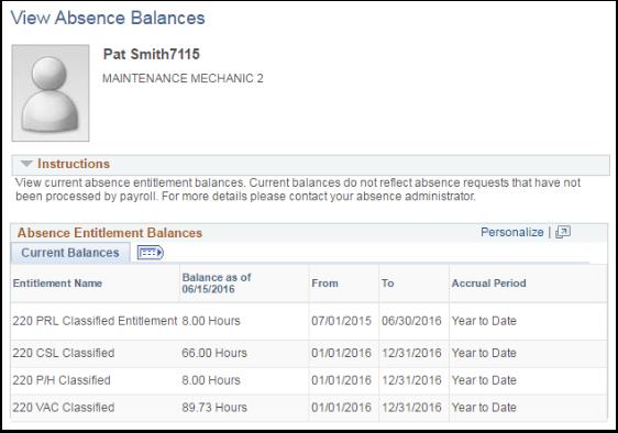 View Current Balances