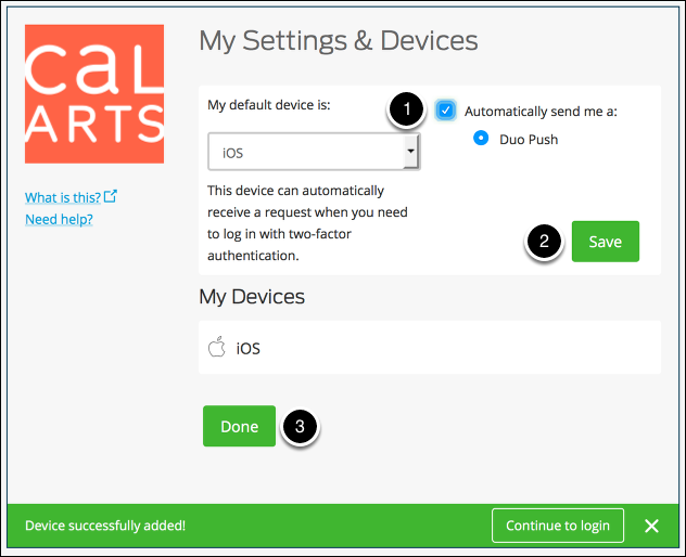 Confirm your Settings & Devices