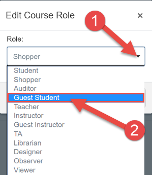 Edit Course Role by clicking on the down action arrow