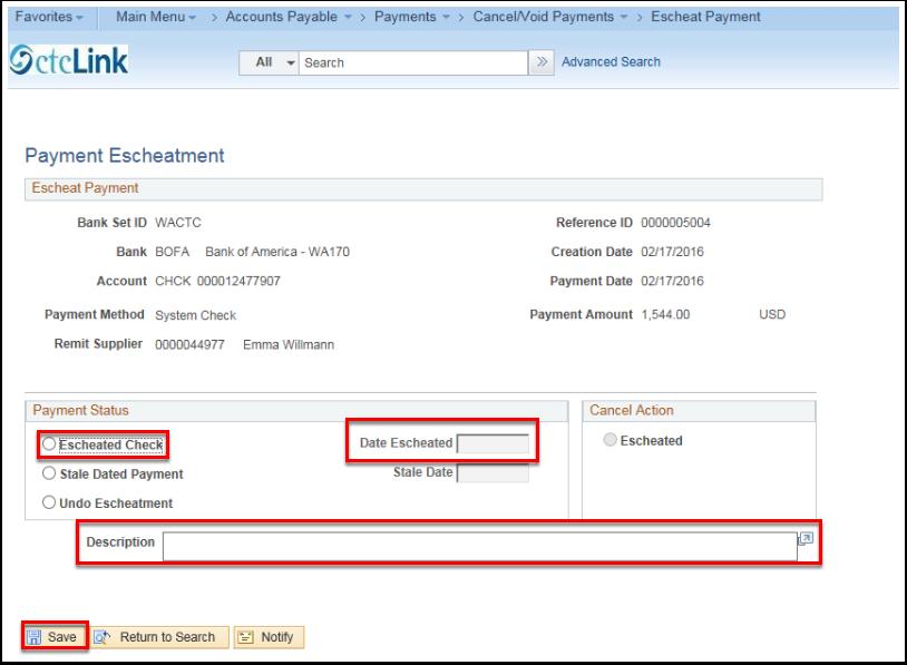 Payment Escheatment Page - Payment Status