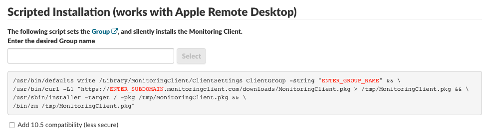 Installing the Monitoring Client via automated deployment or