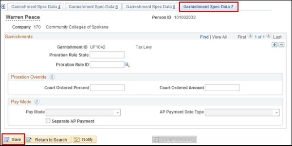 Garnishment Spec Data 7 tab