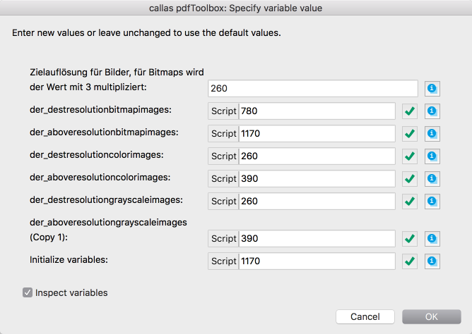 "Inspecting the variable structure in the Ask at Runtime dialogue in pdfToolbox Desktop: The ""debug view"""