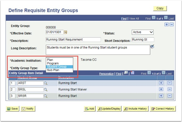 Define Entity Groups Page