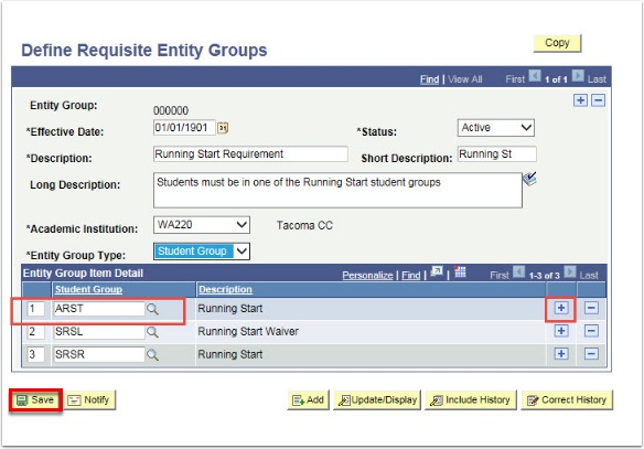 Define Requisite Entity Groups Page