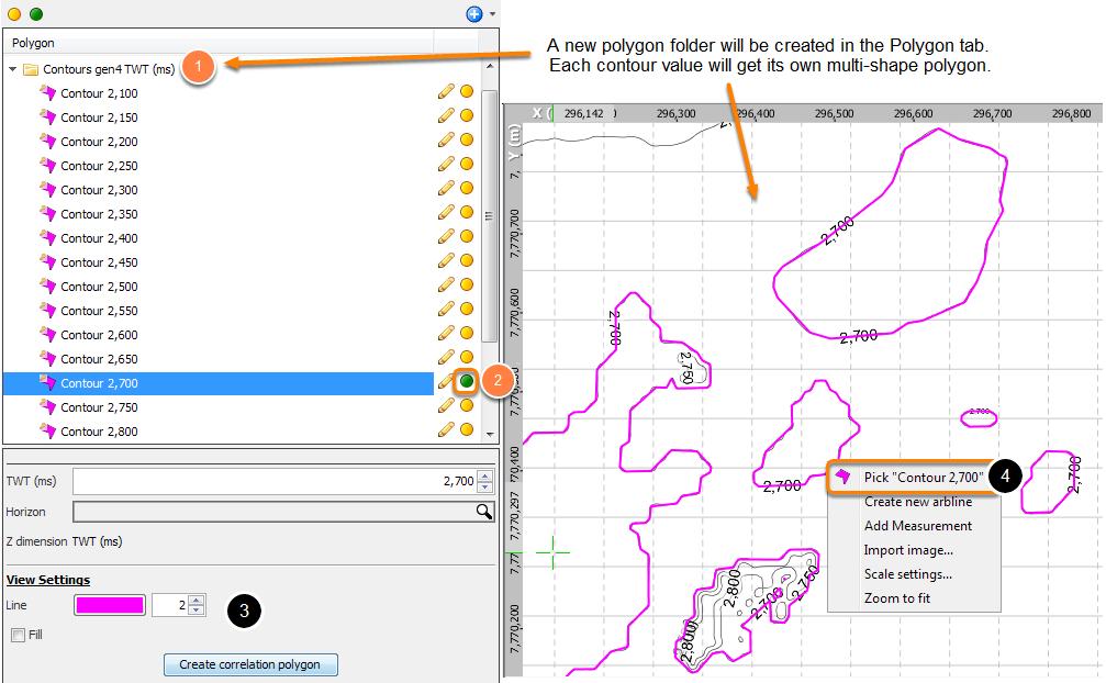Editing contour polygons