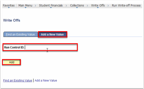 Write Offs Add a New Value