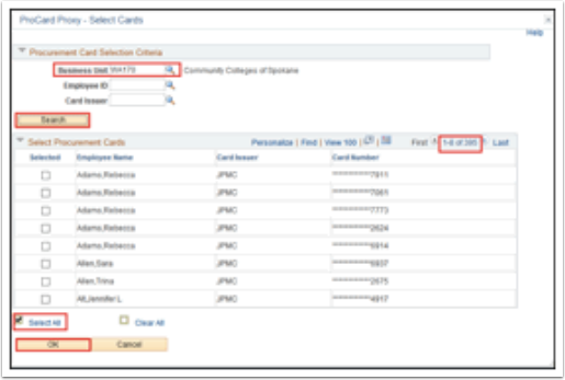 Procurement Card Selection Criteria section