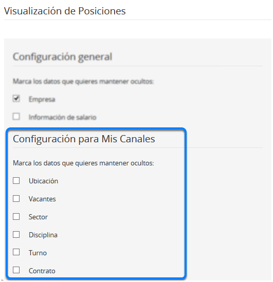 """Configuración para """"Mis Canales"""""""