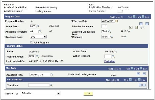 Application Program Data page