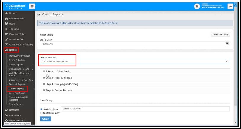 Custom Reports Page