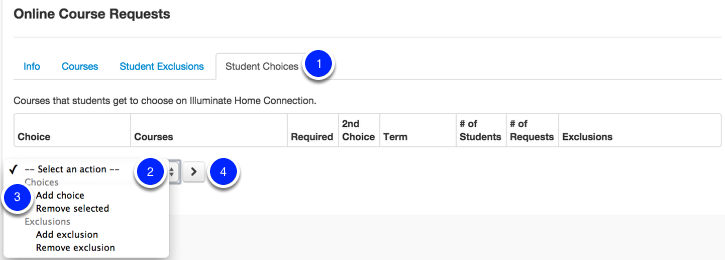 Setting up Course Request Choices