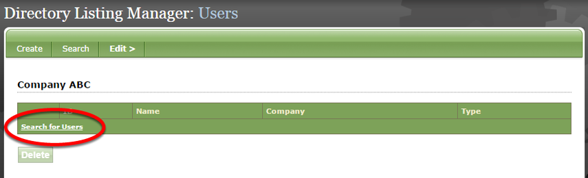 Click Search for Users to add users (typically, clients).