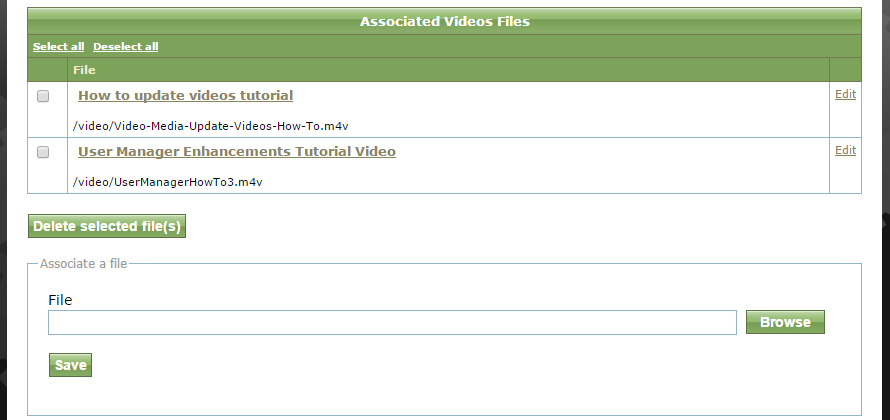 You may add multiple files. After selecting your file from the Media Manager, click Save.