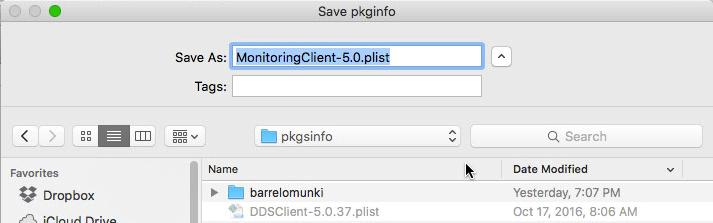 Munki Admin: Save pkginfo