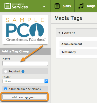 Enter in the name of the tag group you would like organize your tags by, then click add new tag group.