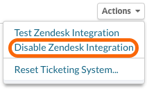 Disable Zendesk Integration
