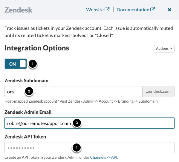 Enabling the Zendesk integration
