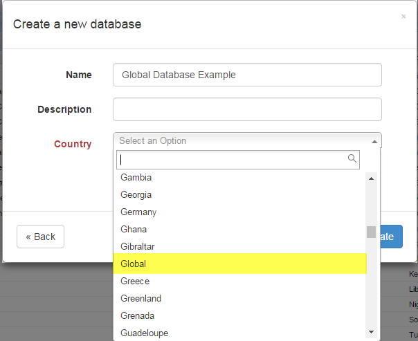 Create a new GLOBAL database