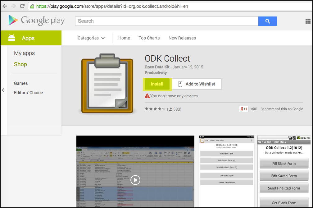 """Install """"ODK Collect"""" on your mobile device through the Google Play store"""