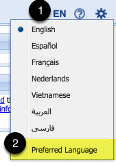 Go to your profile settings via the language menu