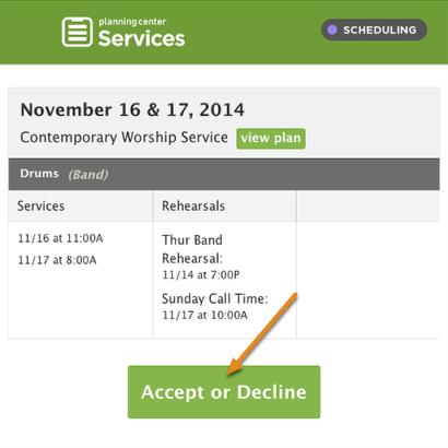 Respond to the Scheduling Email