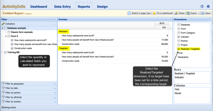 Showing targets in Reports