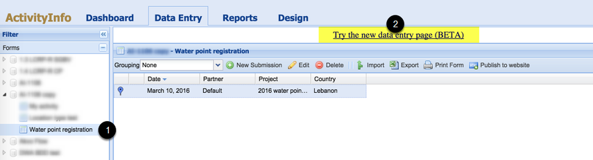 Open the new data entry page