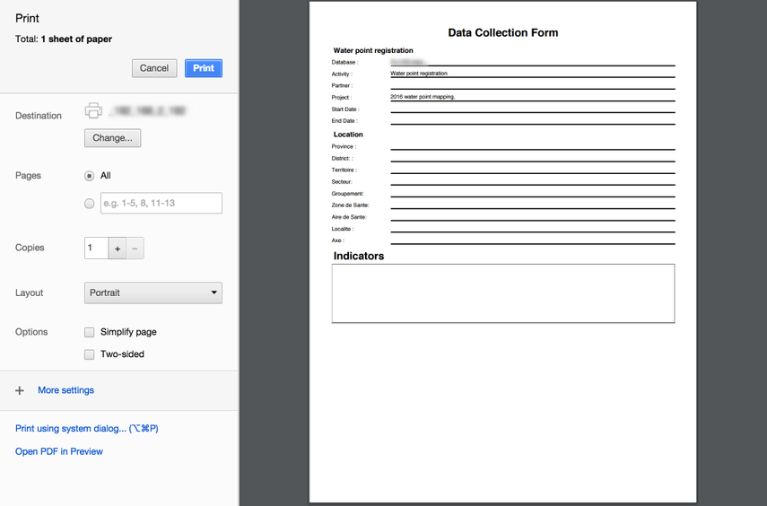 Print or save the form to a PDF document