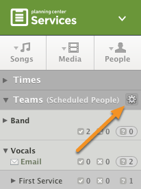 Inside a plan, hover over Scheduled People and click the settings icon.