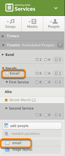 Click 'Email' or 'Email these people'