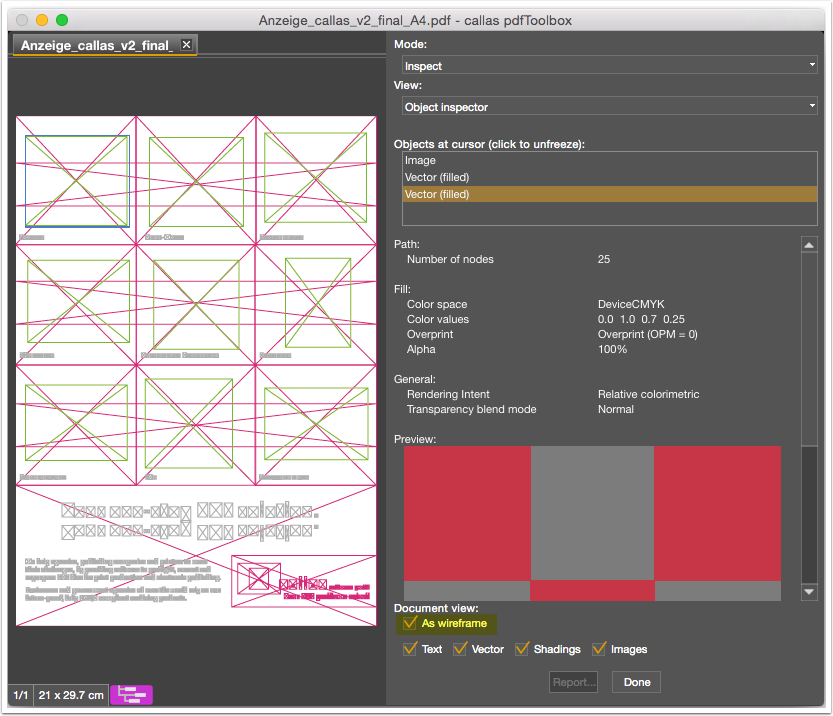The wireframe checkbox in the Object Inspector