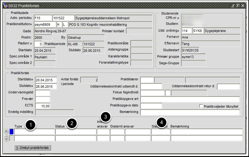 S032 Praktikforløb - Individuel registrering