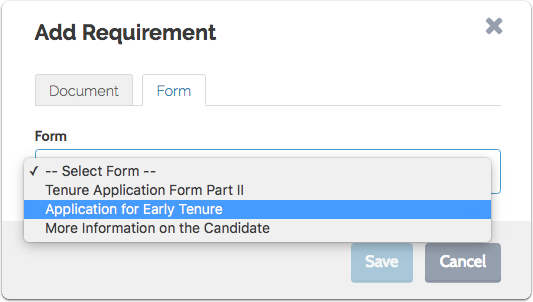"Select the form from the dropdown menu and click ""Save"""