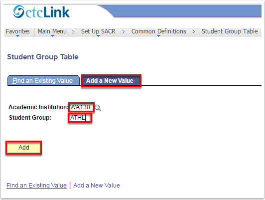 Student Group Table - Add a New Value Tab
