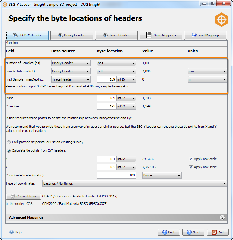 Remap headers for vertical extents
