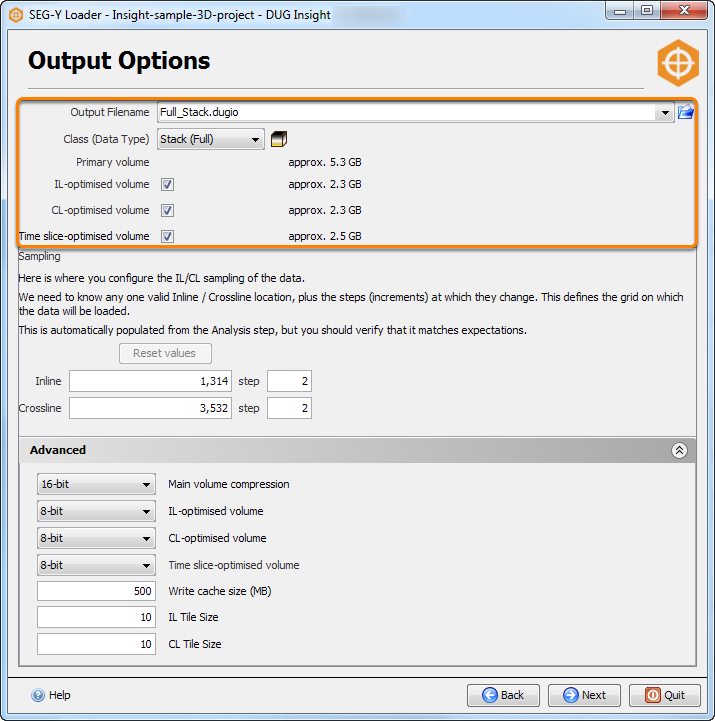 Specify an output file and writing options