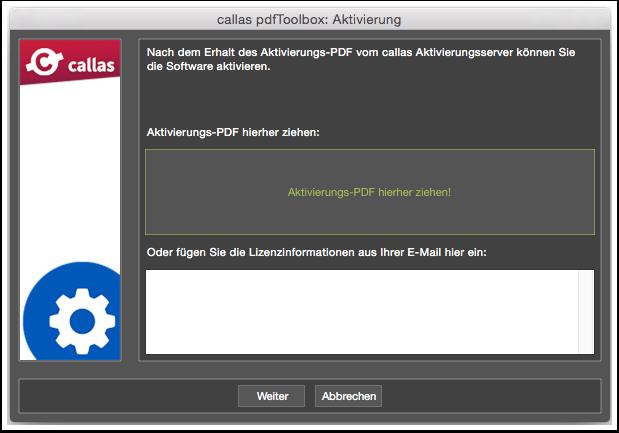 Aktivierungs-PDF Dialog