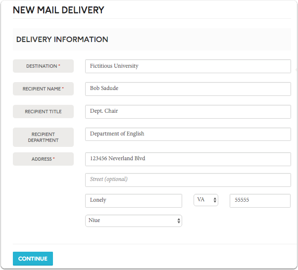 Provide the destination, recipient name, title and department as well as physical address