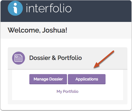 """Click the """"Manage Dossier"""" link on your Interfolio Account Dashboard"""