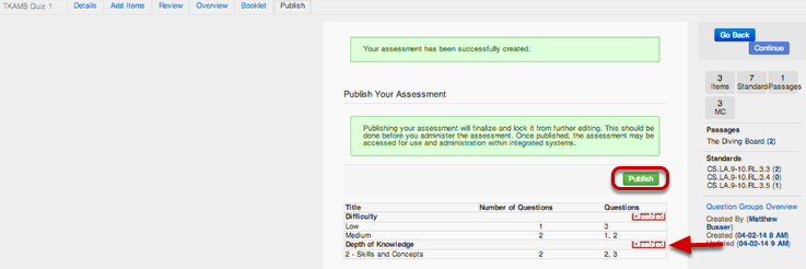Publish Your Assessment